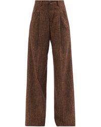 Umit Benan B+ Pleated Wide-leg Herringbone Trousers - Brown