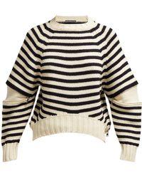 Alexander McQueen - Zipped Elbows Striped Jumper - Lyst