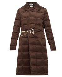 Bottega Veneta Chain-embellished Quilted-satin Coat - Brown