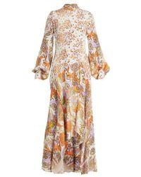 Peter Pilotto - Floral Print Balloon Sleeve Silk Dress - Lyst