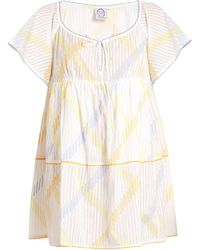 Thierry Colson - Raffia Stripe-print Cotton-voile Dress - Lyst