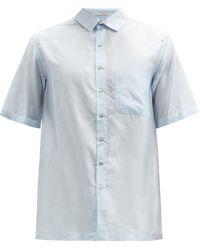 Péro Short-sleeve Silk-voile Shirt - Blue