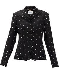 Erdem Tomasso Ditsy-embroidered Crepe Jacket - Black