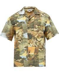 YMC Mitchum Landscape-print Cotton-blend Shirt - Multicolour