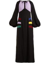 STAUD Pacha Paneled Crepe Maxi Dress - Black