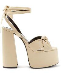 acf58e731a2 Lyst - Saint Laurent Women's Paige Studded Suede Platform Sandals ...