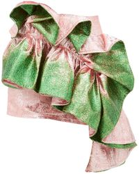 Germanier Recycled Glitter-paint Ruffle Brocade Mini Skirt - Green