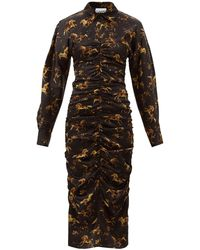 Ganni - ホース シルクブレンドサテン ギャザーシャツドレス - Lyst