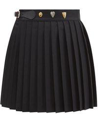 Charles Jeffrey LOVERBOY スタッズ プリーツ ウールミニキルトスカート - ブラック