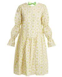 Shrimps - Peggy Floral-embroidered Cotton-blend Dress - Lyst