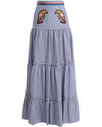 Stella Jean | Tiered Striped Maxi Skirt | Lyst