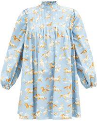 Ganni ホース コットンスモックドレス - ブルー
