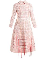 Huishan Zhang - Fauna Floral-embroidered Checked Midi Dress - Lyst