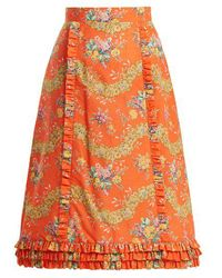 The Vampire's Wife - Cate Liberty Floral-print Cotton Midi Skirt - Lyst