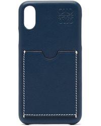 Loewe Anagram-debossed Leather Iphone® X Phone Case - Blue