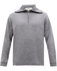 Studio Nicholson Lak High-neck Merino-wool Jersey Jumper - Grey