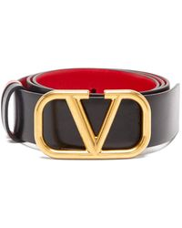 Valentino V-logo Leather Belt - Black