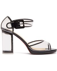 Christian Louboutin - Barbaclara 100 Patent Leather And Pvc Sandals - Lyst
