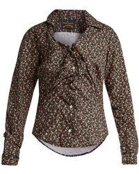Vivienne Westwood Anglomania - Floral-print Twisted-front Blouse - Lyst