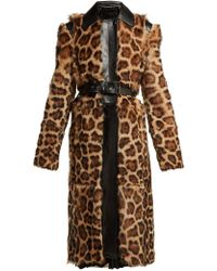 Givenchy - Leopard Print Shearling Coat - Lyst