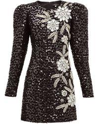 Andrew Gn パフスリーブ ツイードドレス - ブラック