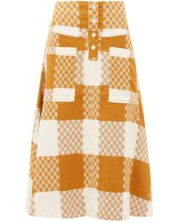 Ace & Jig Maisie Checked Cotton A-line Skirt - Natural