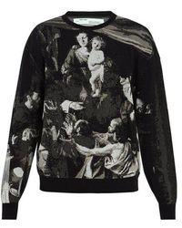 dd631fbbc75f Off-White c o Virgil Abloh - Caravaggio-intarsia Cotton-blend Sweater