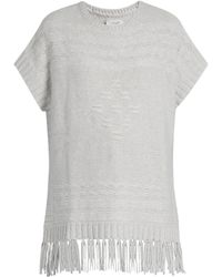 Velvet By Graham & Spencer Destinee Fringed Poncho - Gray