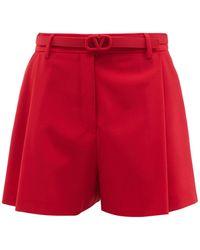 Valentino V-logo Belt Pleated Toile Shorts - Red
