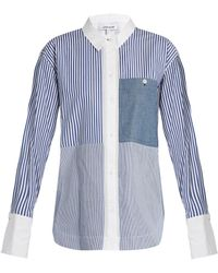 Elizabeth and James Keating Point-collar Striped Cotton Shirt - Blue