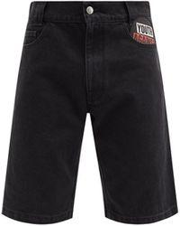 Raf Simons Youth Against-appliqué Denim Shorts - Black