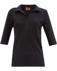 Albus Lumen Cotton-blend Terry Polo Top - Black