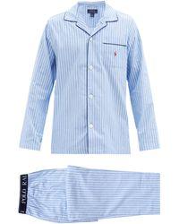 Polo Ralph Lauren Logo-embroidered Striped Cotton Pajama Set - Blue