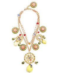 Dolce & Gabbana - Floral And Lemon-charm Embellished Necklace - Lyst