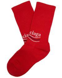 Balenciaga - Logo Intarsia Ribbed Cotton Blend Socks - Lyst