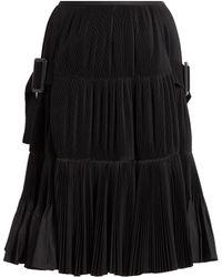 Toga Accordion-pleated Taffeta Skirt - Black