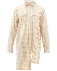 JW Anderson Asymmetric Gingham Cotton Poplin Shirt - White