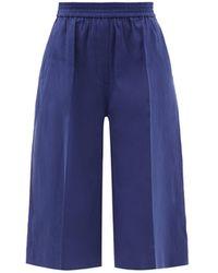 JOSEPH Tan Linen-blend Twill Shorts - Blue