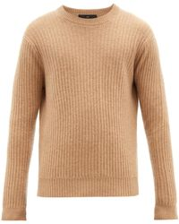 Allude Ribbed Crew Neck Cashmere Sweater - Natural