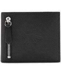 Maison Kitsuné Fox-embossed Grained-leather Bi-fold Wallet - Black