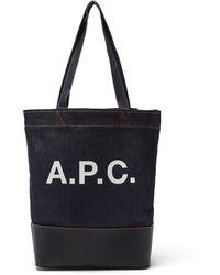 A.P.C. - アクセル デニム&レザートートバッグ - Lyst