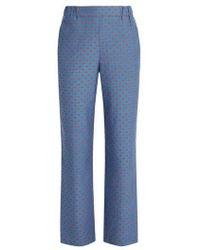 MUVEIL Lip-print Straight-leg Pants - Blue