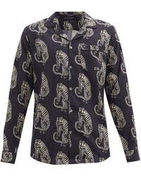 Desmond & Dempsey サンシンド タイガープリント コットンパジャマシャツ - マルチカラー