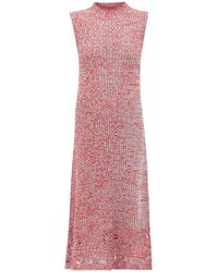 Jil Sander Crochet-hem Knitted Cotton-mouline Dress - Red
