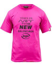 Balenciaga ダメージロゴ コットンtシャツ - ピンク