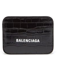 Balenciaga キャッシュ クロコダイルパターンレザー カードケース - ブラック