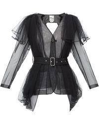 Noir Kei Ninomiya Belted Sheer-tulle Jacket - Black