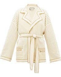 Gucci Cardigan ceinturé en laine mélangée et Lurex rayé - Blanc
