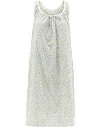 Domi Gathered Bluebell-print Organic-cotton Nightdress - White