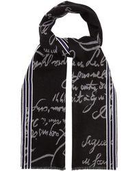 Berluti Scritto Wool Scarf - Black